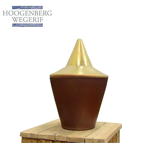 grote keramiek urn met goudkleurig deksel