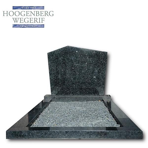 Voordelig grafmonument donker graniet met marmer grint