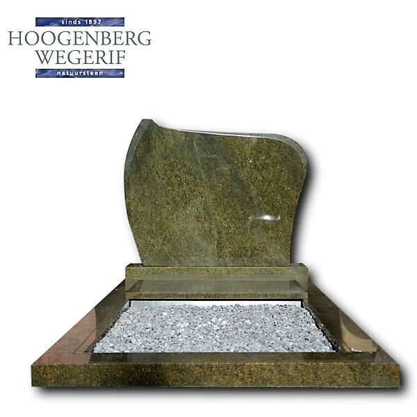 Groen graniet grafmonument met marmergrint grafbedekking