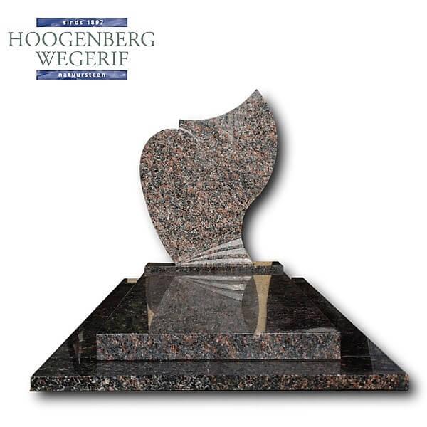 Grafsteen gepolijst bruin graniet met 6 cm dikke afdekplaat