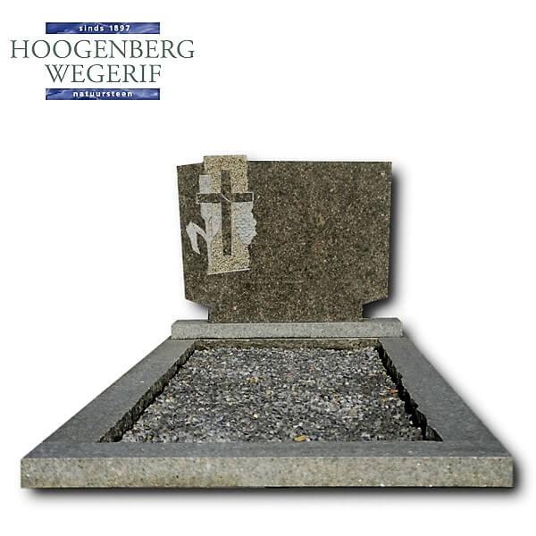 Voordelige grafsteen met gebeeldhouwd kruis en korenaar