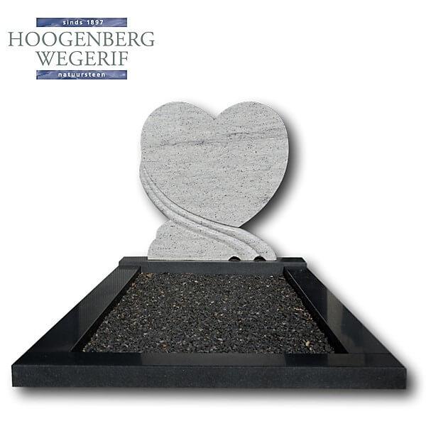 Grafmonument in hartvorm gepolijst wit graniet