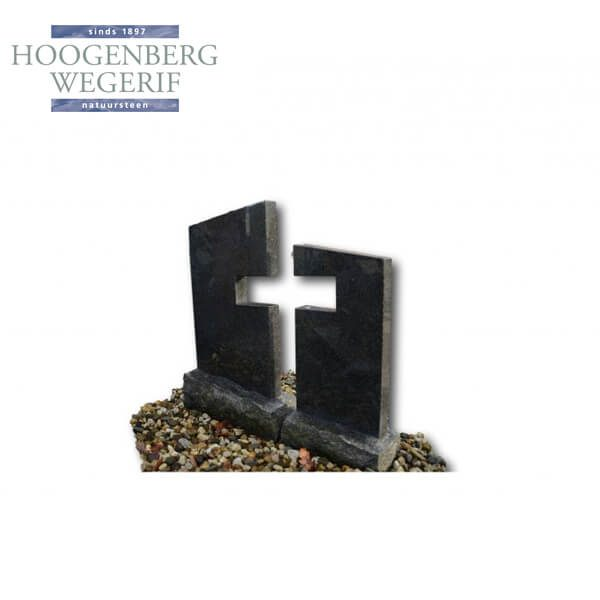 Grafsteen met uitgesneden kruis in impala graniet