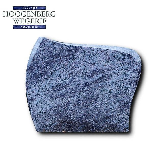 Grafsteen grijs blauw graniet met geslepen facetkant