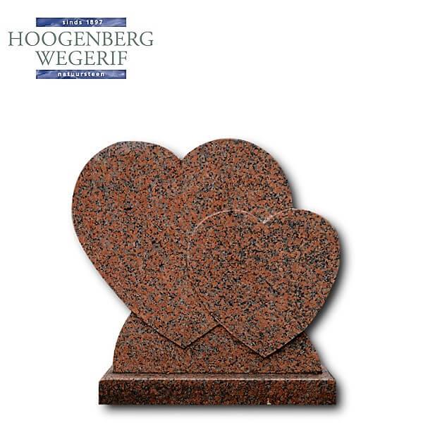 Grafsteen dubbel hart gepolijst rood graniet