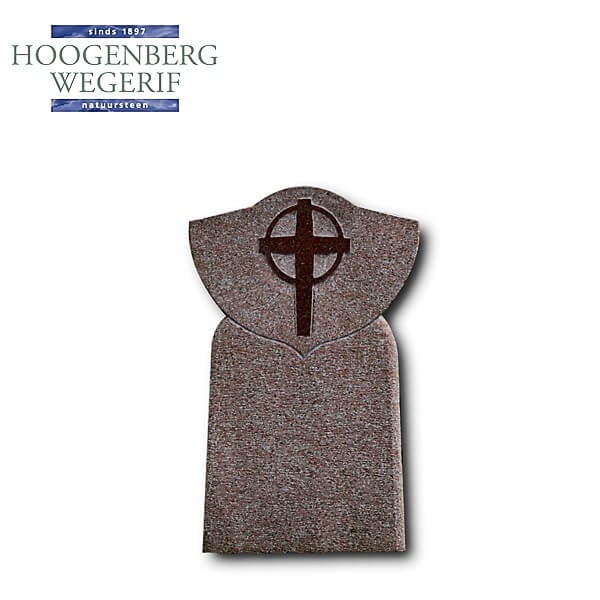 Gedenksteen rood graniet met gepolijst kruis