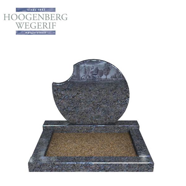 Grijs blauwe grafsteen met gravure