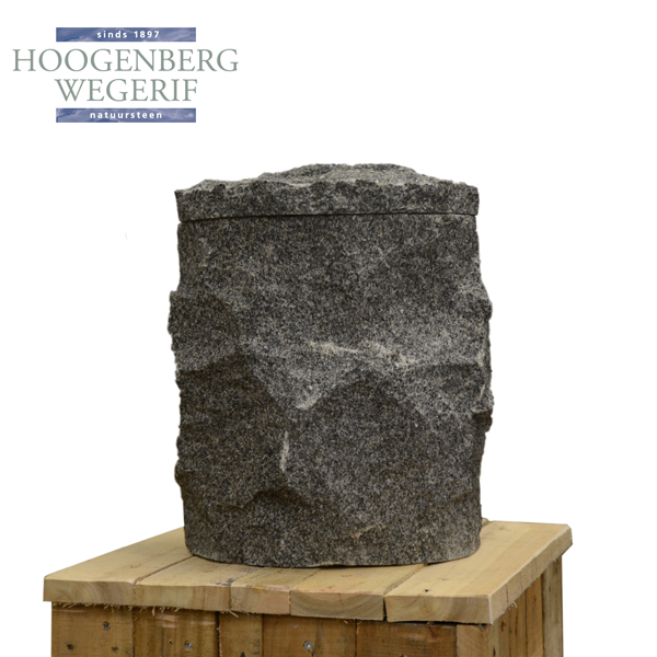 Grijs graniet ruw bewerkte urn