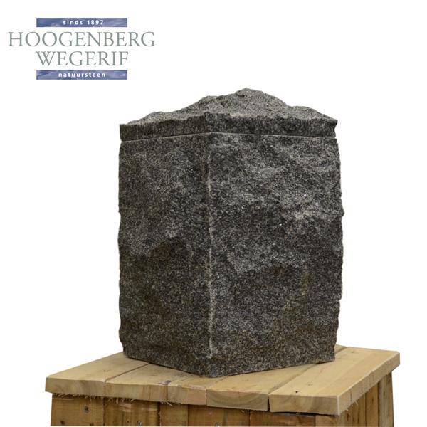 Natuurlijk bewerkte grijs graniet vierkante urn