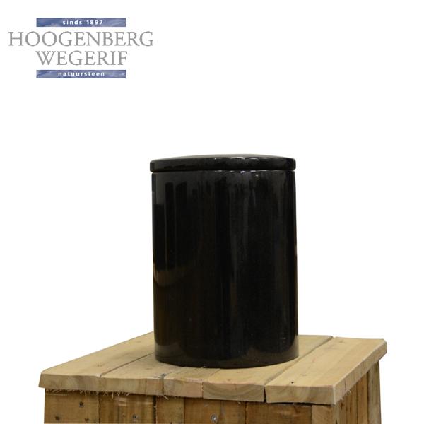 ronde urn zwart graniet