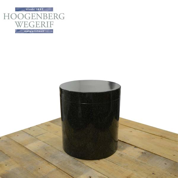 Ronde donkere graniet urn