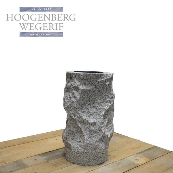 natuurlijk ruwe wit graniet grafbloemvaas