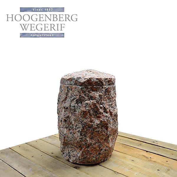 ruw bekapte rood graniet urn