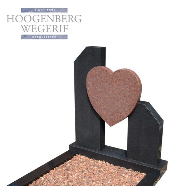 grafsteen rood graniet hart met zwart graniet omranding
