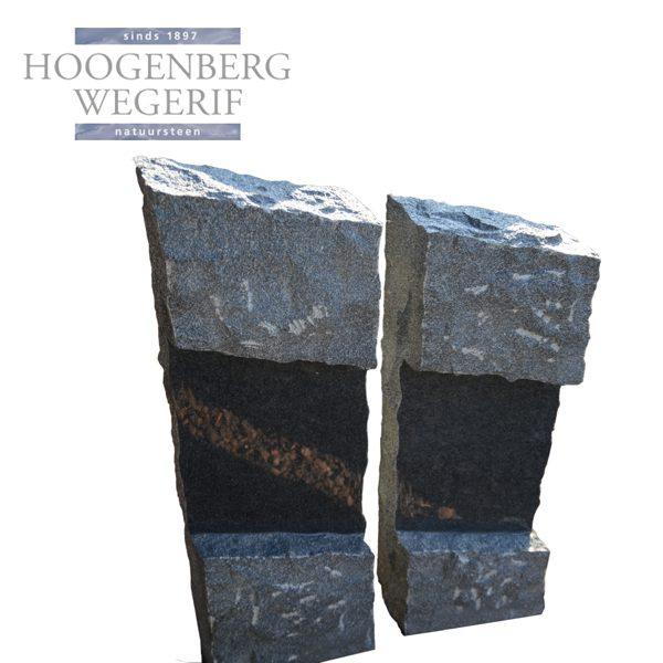 Grafmonument twee zwart graniet zuilen
