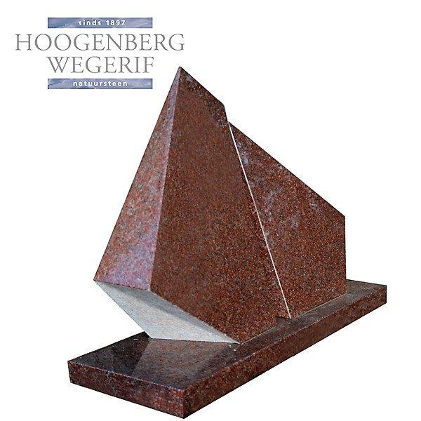 bijzonder vormgegeven rood graniet grafmonument