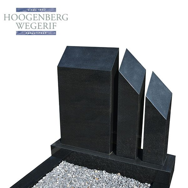 zwart graniet 3 delige grafsteen