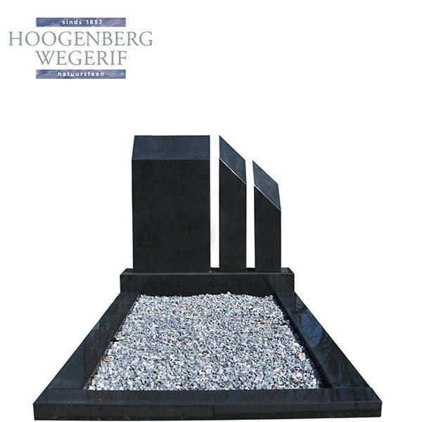 zwart graniet 3 delig grafmonument